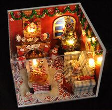 XMAS cadeau DIY KIT Noël Mannequin Bois Maison Poupée LED Avec des Meubles