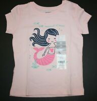New Carter's Girls 2T 4T 5T Top Mermaid At Heart Pink Glitter Graphic Tee