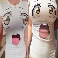 Women Funny T-shirt Girl's Cartoon Eye Mouth Face Short Sleeve Shirt Harajuku