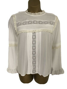 M&S UK 18 CREAM EMBROIDERED LACE CUT OUT FRILL STUNNING PLUS BLOUSE SHIRT TOP