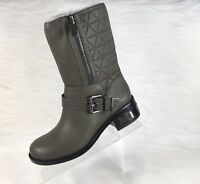 Vince Camuto Waveera Motorcycle Boots Olive Gray Pebbled Leather Size 7.5 M NEW