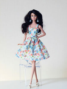 Sweet blue flowered dress for Poppy Parker, Nu face by Olgaomi