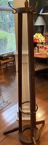 "Vintage Solid Mahogany Pillar Hall Treew/Brass Ring, 6 Hooks, 70"" x 12"" Diameter"