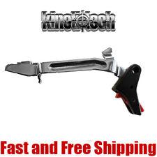 Kineti-Tech Enhanced Aluminum Flat Trigger w/ Bar for Glock Gen3&Gen4 Red Safety