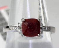 Sterling Silver Dyed Cushion Cut Ruby Cubic Zirconia Accent Ring Size 8