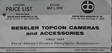 Complete Beseler Topcon Cameras & Accessories Price List dated July 1, 1970
