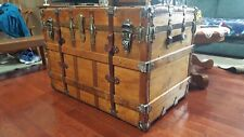 Antique steamer trunk with nice hardware and original tray and brass lock.