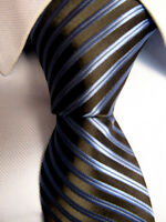 Men's Zenio Black Blue Striped Micro Fiber Skinny Tie Hand Made A27525