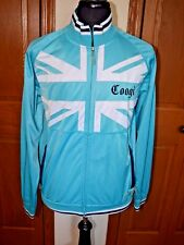 Men's COOGI Zip-Up Athletic Jacket Large MINT Aqua Blue Rainbow Stars