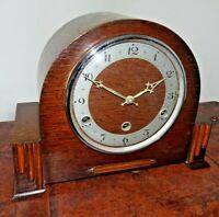 Antique Art Deco 1920's/1930's Anvil Oak Westminster Mantel Clock Key & Pendulum