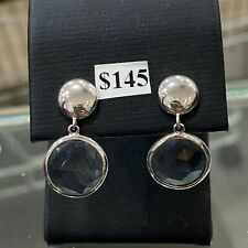 NEW Sterling Silver Earrings Stud Hanging Circle Grey Stone Free Delivery
