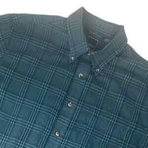 Arrow Long Sleeve Button Collar Shirt Blue Green Plaid Casual Mens Large