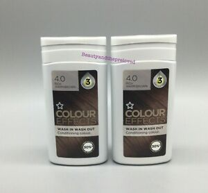 2x Superdrug Conditioning Hair Colour Effects Wash In Out Rich Warm Brown 4.0