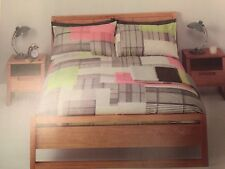 JOHN LEWIS NJORD SUPERKING SIZE DUVET COVER 100% COTTON CORAL / MULTI PATCHWORK