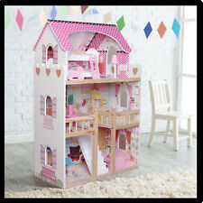 New Wooden Dollhouse Large Dolls House +17PCS Furniture Barbie Doll