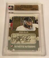 Jonas Hiller /19 made ITG Ultimate Goalie Autograph Insert Parallel Hockey Card
