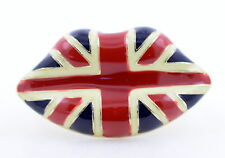 Heavy and chunky enamel lips double finger ring with union jack pattern