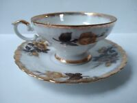 Antique Yellow Gold Rose Porcelain Cup Saucer Set with Gold Trim