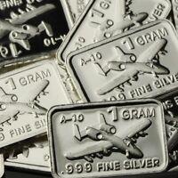 """A-10 Thunderbolt"". Lot of 10, 1 gram .999 Fine silver bullion bar. A 10 NEW!"