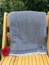 Pure 100% Cashmere Blankets Throws Nepalese Handmade Indigo white herringbone