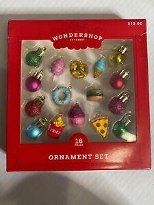 Mini Christmas Tree Ornament Set- Food -Wonderland New 16 Piece Set