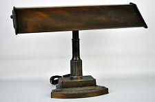 Vintage Art Deco Bronze Gilded Industrial Age Metal Banker Flourescent Desk Lamp