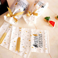 10 Pcs Christmas Plastic Gift Bags Cookies Candy Packaging Xmas Holiday Decor