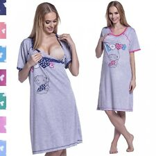 Happy Mama. Women's Maternity Nursing Breastfeeding Nightdress Shirt Gown. 141p