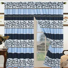 Blue Window Curtain Panels Liner Tassel AT LINEN PLUS