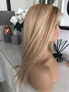 "Balayage Blonde Brown Lace 16"" Ombre Highlight 100% Virgin Human Long Hair Wig"