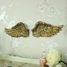 Gold resin wall art hanging angel wings shabby vintge chic cherub bedroom hall