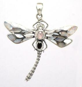 Sterling Silver .925 Bali Dragonfly Design Brooch/Pendant w Mother Of Pearl.
