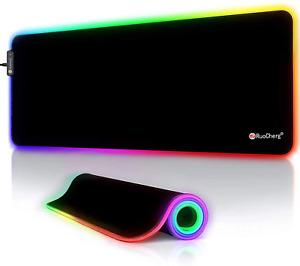 RGB Gaming Mauspad, LED Mauspad Groß, 800x300x4mm Mousepad mit 12 Beleuchtungs