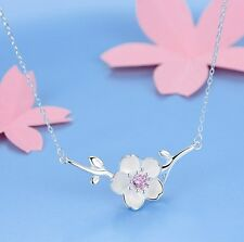 "925 sterling silver sakura cherry flower pendant necklace 18"" Chain gift box S5"