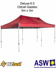 6m x 3m Oztrail Gazebo DELUXE 6.0 RED Instant Fold Marquee Pavilion G-OZD6.0