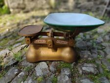 More details for vintage c1957 avery cast iron scales to weigh 14lb - green + white enamel tray