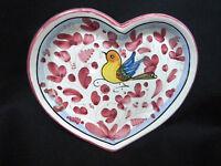Mario Sambuco Deruta Hand-Painted Art Pottery Heart Dish w Bird & Flowers ITALY