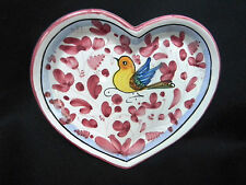 Mario Sambuco Deruta Hand-Painted Art Pottery Heart Dish w Bird & Flowers ITALY