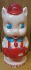 PORKY PIG ~ VINTAGE PIGGY BANK ~ PLASTIC W/ STOPPER ~ IDEAL ~ 6 INCH ~ 1950'S