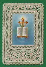 CROSS & HOLY BOOK  Antiq. SMALL LACE HOLY CARD