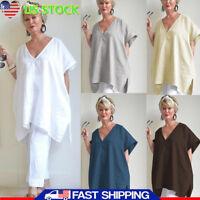 Women V Neck Cotton Linen Short Sleeve Blouse Tunic Oversize Long Tops Plus Size