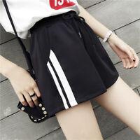 Womens Casual Shorts Elastic Waistband Hot Pants Loose Striped Shorts Streetwe X