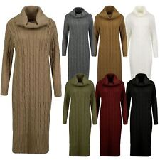 Women Polo Cowl Neck Cable Knit Long Sleeve Midi Maxi Jumper Ladies Dress