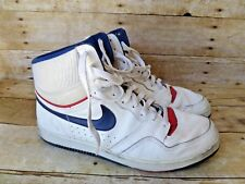 1987 Vintage Nike Court Force White Leather Hi Top Basketball Shoes Men's 12