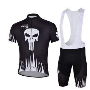 Men's Cycling Set Black Skeleton Bike Cycle Jersey and (Bib) Shorts Kit S-5XL