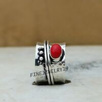 Coral Ring Solid 925 Sterling Silver Spinner Ring Meditation Ring Jewelry RM6