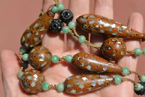 Vintage Japanese Mokume Lacquer Abalone Shell Inlay Ojime Bead Necklace