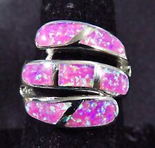 "Sterling 925 Silver SF Size 10 Ring Large Gorgeous Pink Lab Fire Opal 3/4"" Wide"