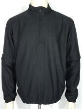 Ping black white lightweight 1/4 zip windbreaker jacket zip off sleeves mens M