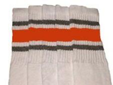 "22"" KNEE HIGH WHITE tube socks with GREY/ORANGE stripes style 3 (22-26)"